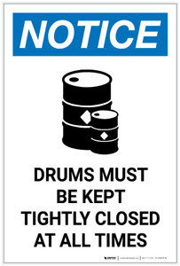Notice: Empty Drums Must be Kept Closed with Icon Portrait - Label