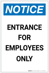 Notice: Entrance For Employees Only Portrait - Label