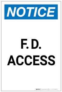Notice: F. D. Access Portrait - Label