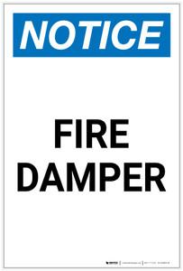 Notice: Fire Damper Portrait - Label
