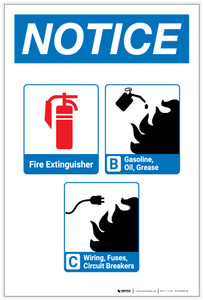 Notice: Fire Extinguisher and Flammable Materials with Icons Portrait - Label