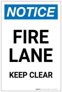Notice: Fire Lane Keep Clear Portrait - Label
