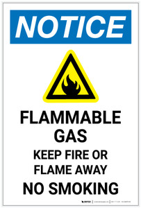 Notice: Flammable Gas - Keep Fire Or Flame Away with Icon Portrait - Label