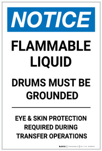 Notice: Flammable Liquid Drums Must Be Grounded Portrait - Label