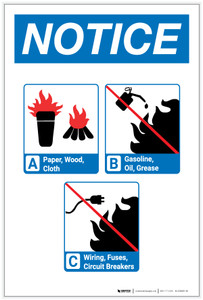 Notice: Flammable Materials with Icons Portrait - Label