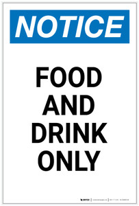 Notice: Food And Drink Only Portrait - Label