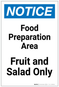 Notice: Food Prep Area - Fruit and Salad Only Portrait - Label