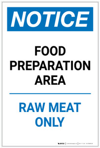 Notice: Food Preparation Area - Raw Meat Only Portrait - Label