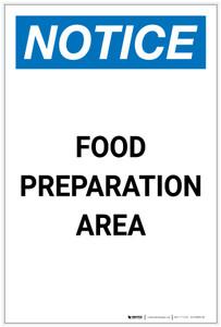 Notice: Food Preparation Area Portrait - Label