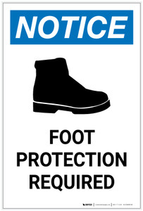 Notice: Foot Protection Required with Icon Portrait - Label