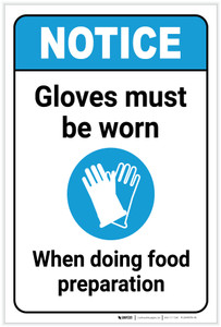 Notice: Gloves Must Be Worn When Doing Food Prep with Icon ANSI Portrait - Label