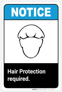 Notice: Hair Protection Required with Icon ANSI Portrait - Label