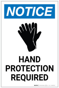 Notice: Hand Protection Required with Icon Portrait - Label