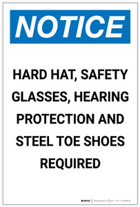 Notice: Hard Hat Safety Glasses Hearing Protection Steel Toe Shoes Required Portrait - Label