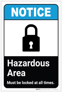 Notice: Hazardous Area Must Be Locked with Icon ANSI Portrait - Label