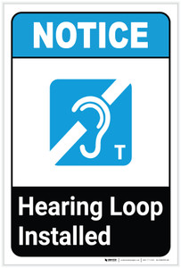Notice: Hearing Loop Installed ANSI with Icon Portrait - Label