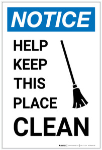 Notice: Help Keep This Place Clean with Icon Portrait - Label