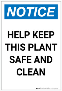Notice: Help Keep This Plant Safe and Clean Portrait - Label