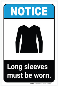 Notice: Long Sleeves Must Be Worn ANSI with Icon Portrait - Label