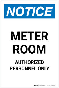 Notice: Meter Room Authorized Personnel Only Portrait - Label