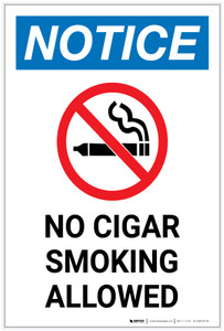Notice: No Cigar Smoking Allowed Portrait - Label