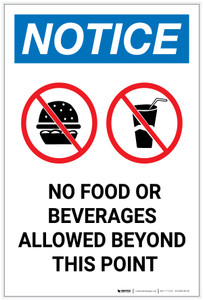 Notice: No Food Or Beverages Allowed Beyond This Point with Icons Portrait - Label