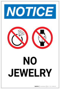 Notice: No Jewelry with Icons Portrait - Label
