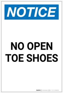 Notice: No Open Toe Shoes Portrait - Label