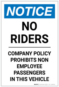 Notice: No Riders Company Policy Prohibits Non-Employee Passengers In This Vehicle Portrait - Label