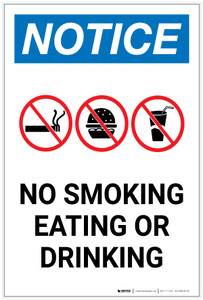 Notice: No Smoking/Eating/Drinking with Icons Portrait - Label