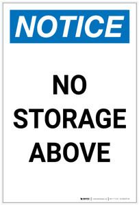 Notice: No Storage Above Portrait - Label