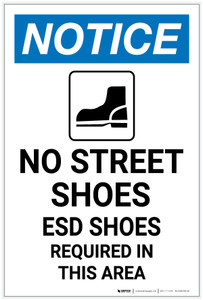 Notice: No Street Shoes ESD Shoes Required with Icon Portrait - Label