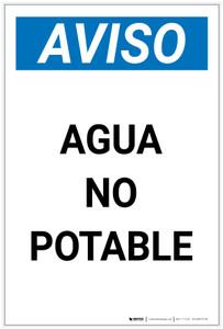 Notice: Non Potable Water - Spanish Portrait - Label