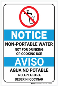 Notice: Non Potable Water Bilingual Spanish ANSI with Icon Portrait - Label