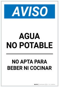 Notice: Non Potable Water Not For Drinking Cooking Spanish Portrait - Label