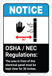 Notice: OSHA NEC Electrical Panel Regulations ANSI with Icon Portrait - Label