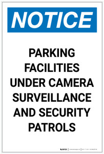 Notice: Parking Facilities Under Camera Surveillance Portrait - Label