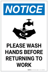 Notice: Please Wash Hands Before Returning To Work Handwashing Icon Portrait - Label