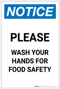 Notice: Please Wash Your Hands For Food Safety Portrait - Label