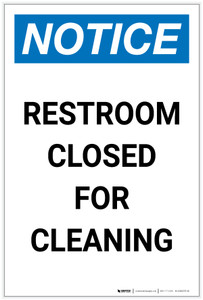 Notice: Restroom Closed for Cleaning Portrait - Label