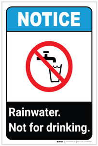 Notice: Rainwater Not For Drinking ANSI with Icon Portrait - Label