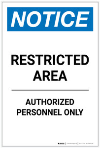 Notice: Restricted Area Authorized Personnel Only Portrait - Label