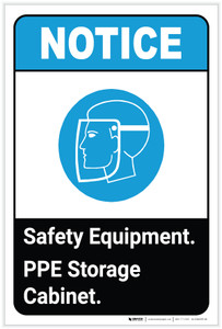 Notice: Safety Equipment PPE Storage Cabinet ANSI with Icon Portrait - Label