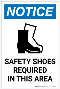 Notice: Safety Shoes Required In This Area with Icon Portrait - Label