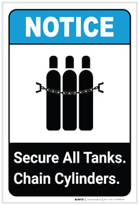 Notice: Secure All Tanks - Chain Cylinders ANSI Portrait - Label