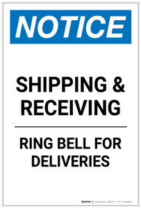 Notice: Shipping & Receiving - Ring Bell for Deliveries Portrait - Label