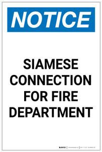 Notice: Siamese Connection for Fire Department Portrait - Label