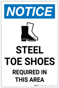 Notice: Steel Toe Shoes Required in This Area with Icon Portrait - Label