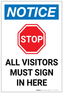 Notice: Stop All Visitors Must Sign In Here with Icon Portrait - Label