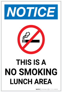 Notice: This Is A No Smoking Lunch Area with Icon Portrait - Label